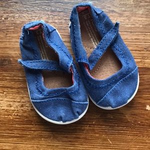 TOMS blue canvas Mary Janes